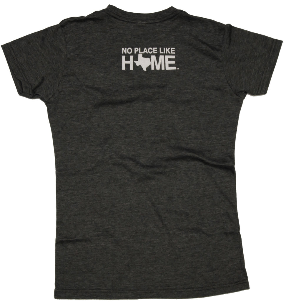 "Back of ladies' tee with ""No Place Like Home"" at the top in white"