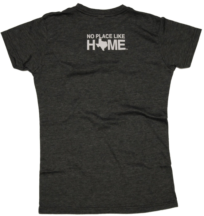 "Back of ladies' tee with writing ""No Place Like Home"" at the top in white"
