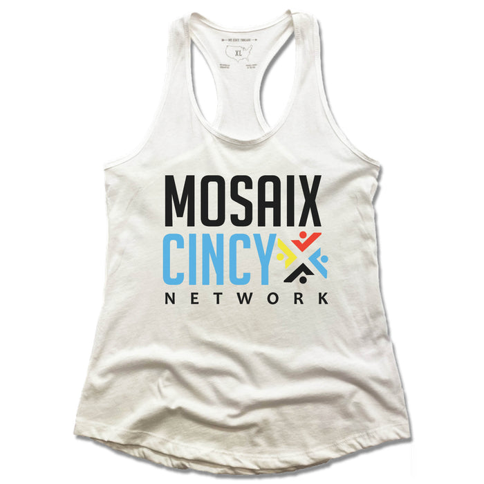 MOSAIX CINCY NETWORK | LADIES WHITE TANK | COLOR LOGO