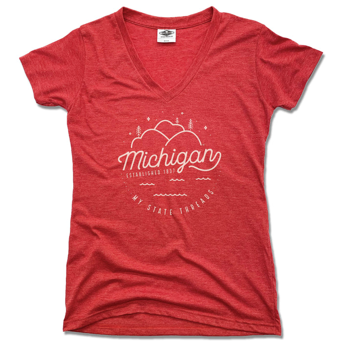 MICHIGAN | LADIES RED V-NECK | CREST