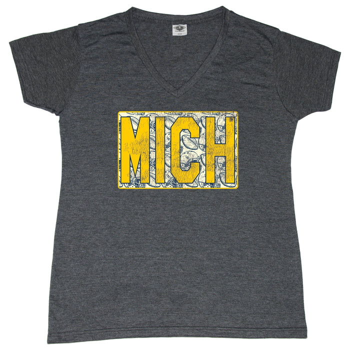 Maize/Blue Michigan Vintage Football - Ladies' Tee