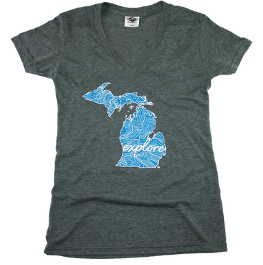 MICHIGAN LADIES V-NECK | EXPLORE | MAP - My State Threads