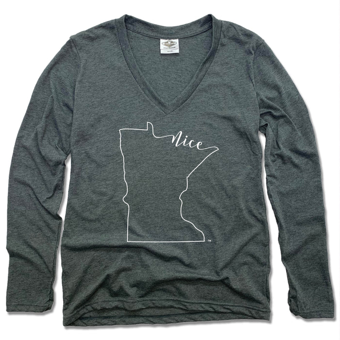 MINNESOTA LADIES' LONG SLEEVE V-NECK | OUTLINE | NICE