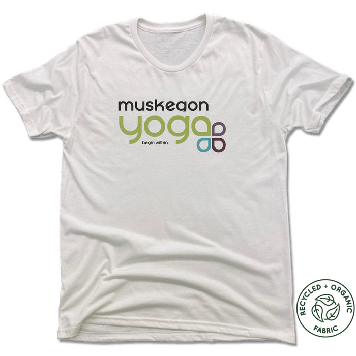 Muskegon Yoga | UNISEX WHITE Recycled Tri-Blend | Water Sun Sky