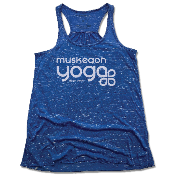 Muskegon Yoga | LADIES BLUE FLOWY TANK | Begin Within White