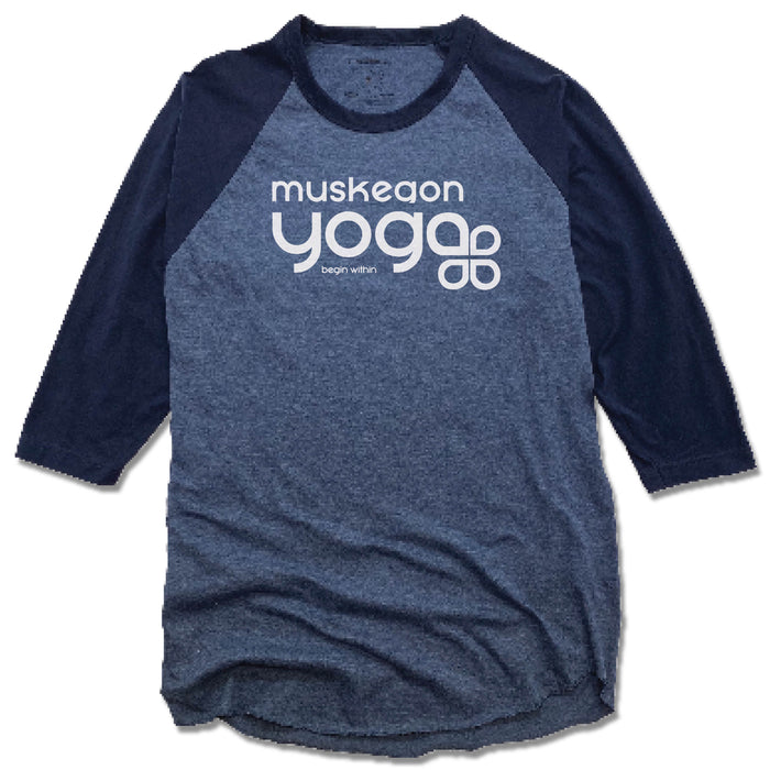 Muskegon Yoga | DENIM/NAVY 3/4 SLEEVE | Begin Within White