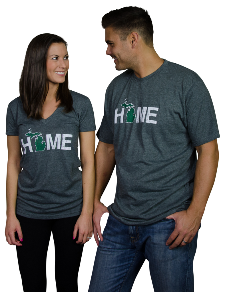 Ladies' Michigan HOME Green V-Neck Tee