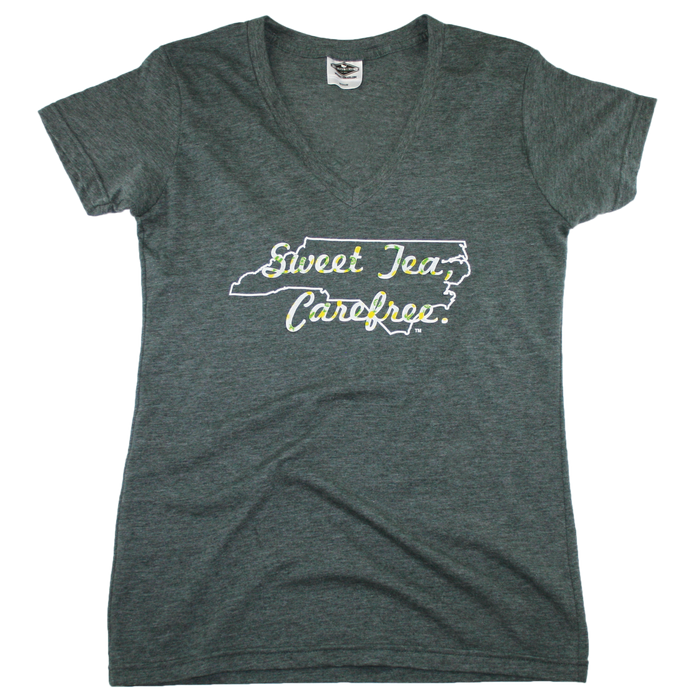 NORTH CAROLINA LADIES V-NECK TEE | SWEET TEA | CAREFREE