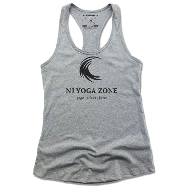 NJ YOGA ZONE | LADIES GRAY TANK | BLACK LOGO