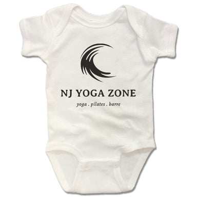 NJ YOGA ZONE | WHITE ONESIE | BLACK LOGO