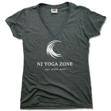 NJ YOGA ZONE | LADIES V-NECK | WHITE LOGO