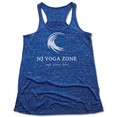 NJ YOGA ZONE | LADIES BLUE FLOWY TANK | WHITE LOGO