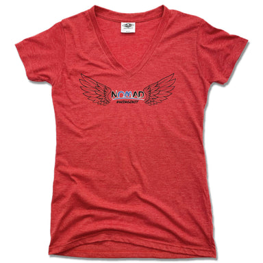NOMAD BODYWORKS | LADIES RED V-NECK | WINGS