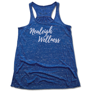 NEALEIGH WELLNESS | LADIES BLUE FLOWY TANK | WHITE LOGO