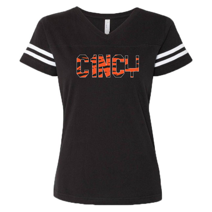Cincy Tiger Stripes - Ladies' Football Tee
