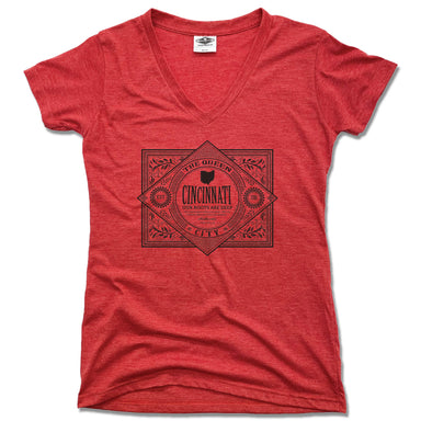 CINCINNATI | LADIES RED V-NECK | VINTAGE BLACK