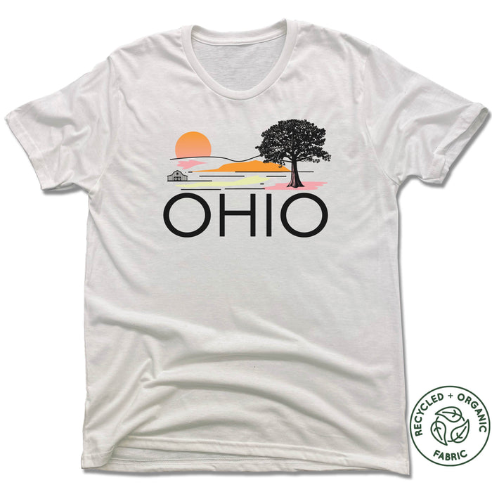 OH | UNISEX White Recycled Tri-Blend | Retro Travel Color