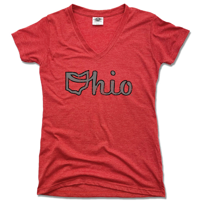 OHIO LADIES RED V-NECK | OHIO SCRIPT | GRAY/BLACK