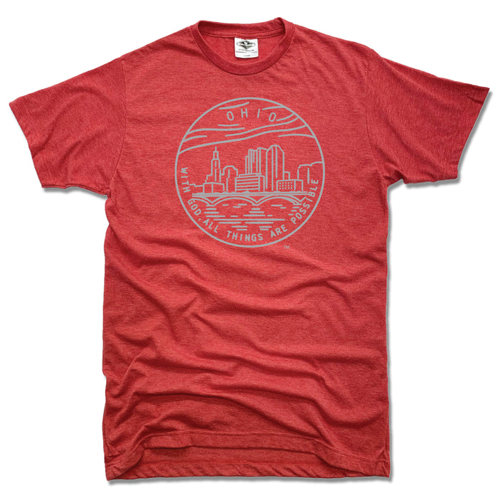 OHIO RED TEE | STATE SEAL | WITH GOD, ALL THINGS ARE POSSIBLE