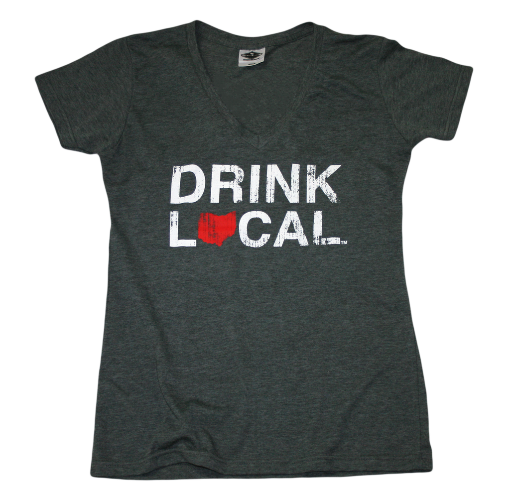 OHIO LADIES V-NECK | DRINK LOCAL | RED