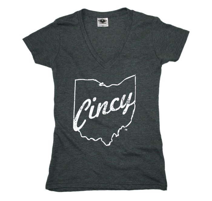 OHIO LADIES V-NECK | CINCY | WHITE