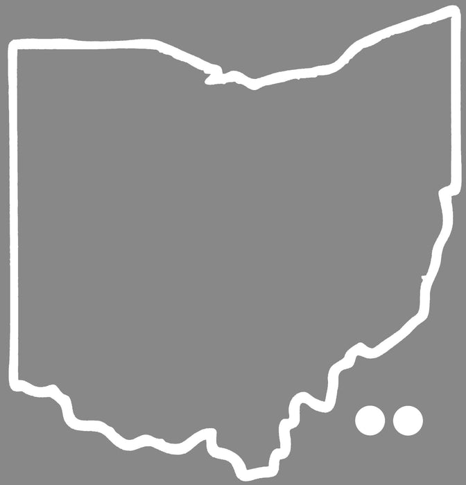 OHIO STICKER | OUTLINE | WHITE DOT