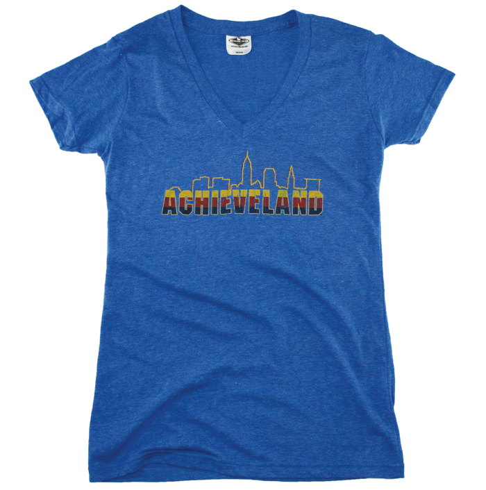 OHIO LADIES BLUE V-NECK | ACHIEVELAND | WINE/GOLD