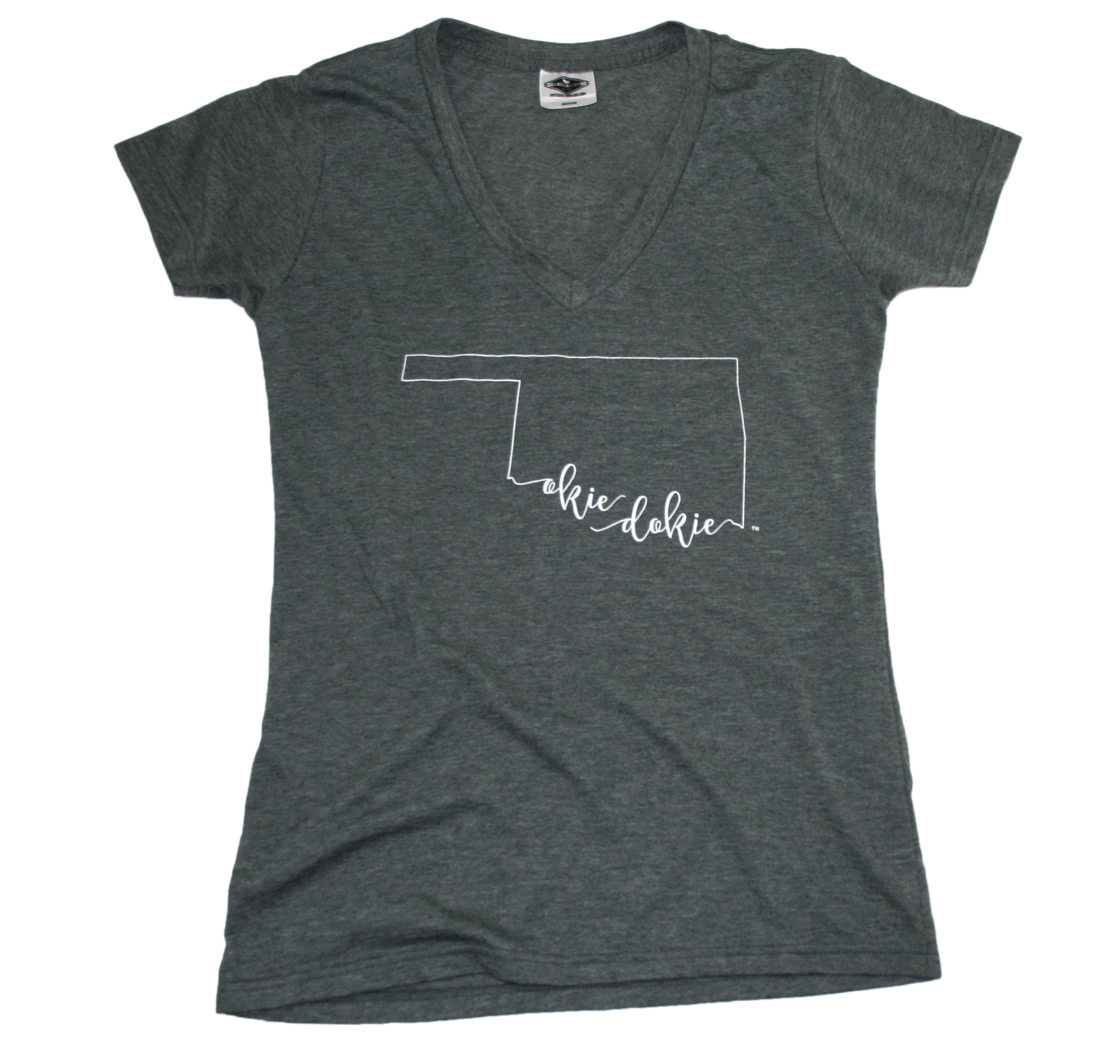 OKLAHOMA LADIES V-NECK TEE | CALLIGRAPHY OUTLINE | OKIE DOKIE