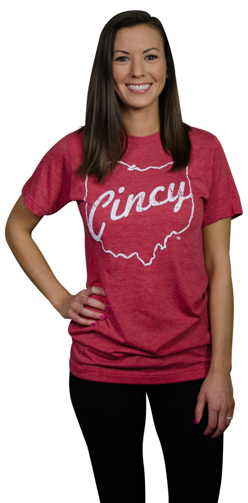 OHIO RED TEE | CINCY | WHITE