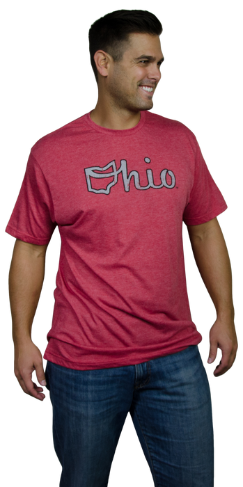 OHIO RED TEE | SCRIPT | GRAY/BLACK