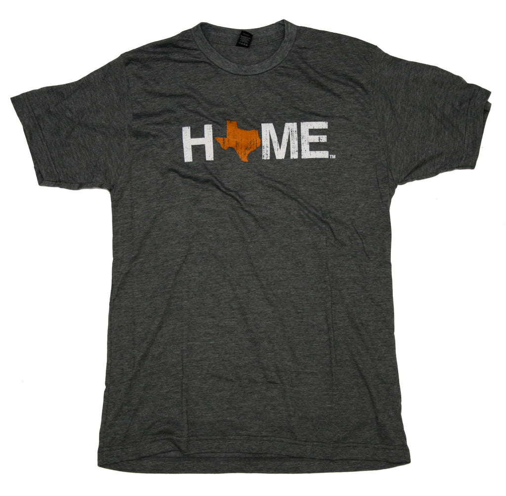 Unisex Charcoal HOME Crew Neck with an orange Texas as the O
