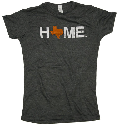 Ladies' Charcoal HOME Crew Neck with an orange Texas as the O