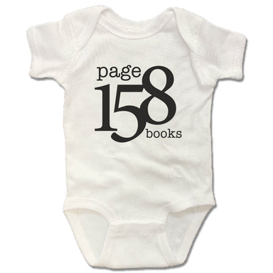 PAGE 158 BOOKS | WHITE ONESIE | BLACK LOGO
