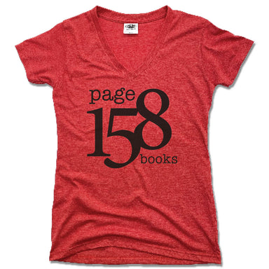 PAGE 158 BOOKS | LADIES RED V-NECK | BLACK LOGO