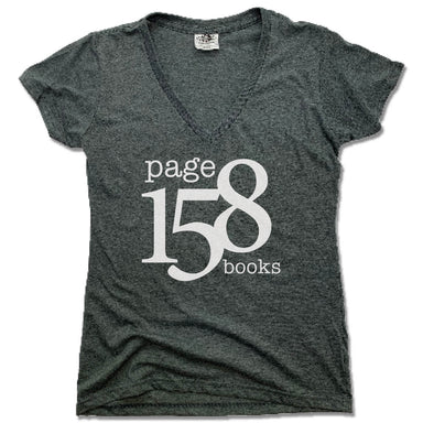 PAGE 158 BOOKS | LADIES V-NECK | WHITE LOGO