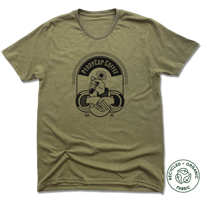 PENNYCUP COFFEE CO | UNISEX OLIVE Recycled Tri-Blend | LOGO