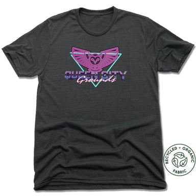 QUEEN CITY GROUNDS | UNISEX BLACK Recycled Tri-Blend | RETRO OWL