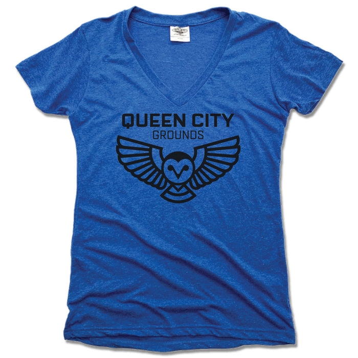 QUEEN CITY GROUNDS | LADIES BLUE V-NECK