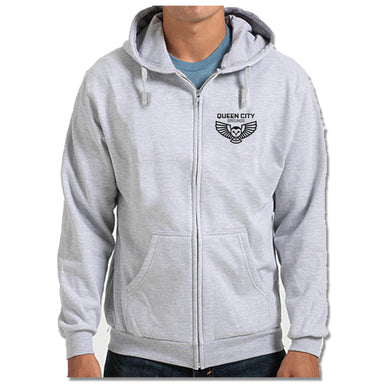 QUEEN CITY GROUNDS | LIGHT GRAY ZIP HOODIE | BLACK LOGO