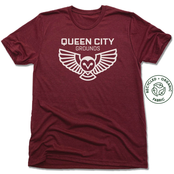 QUEEN CITY GROUNDS | UNISEX VINO RED Recycled Tri-Blend