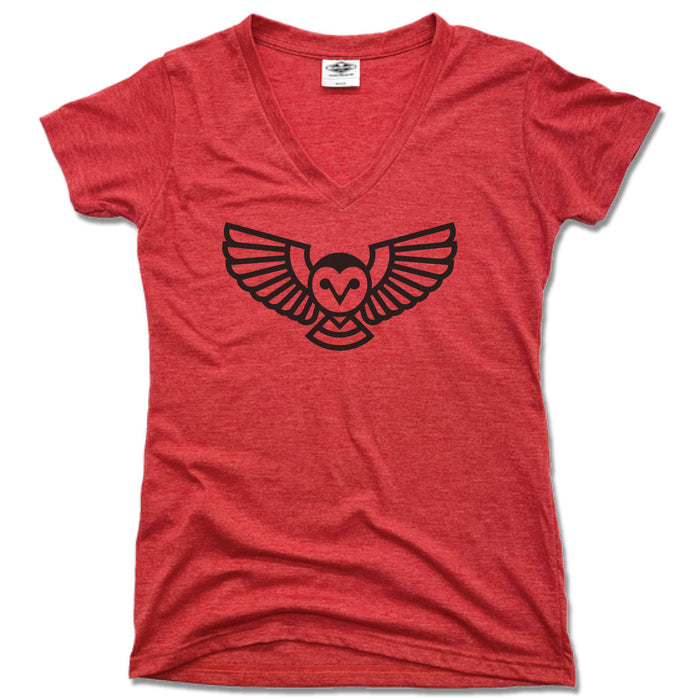 QUEEN CITY GROUNDS | LADIES RED V-NECK | OWL