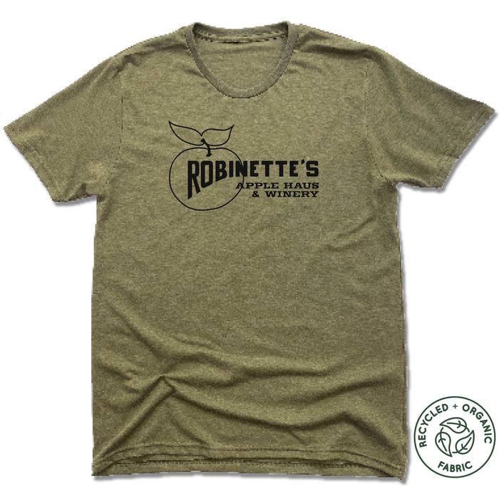 ROBINETTE'S APPLE HAUS & WINERY | UNISEX OLIVE Recycled Tri-Blend | LOGO
