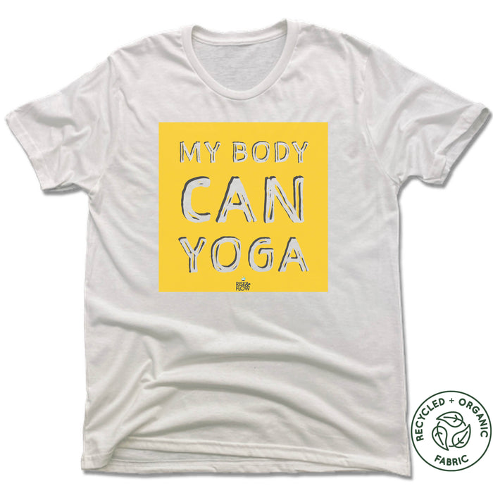 RISE AND FLOW YOGA STUDIO | UNISEX WHITE Recycled Tri-Blend | YELLOW LOGO