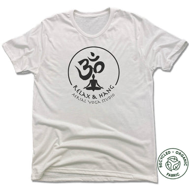 RELAX AND HANG AERIAL YOGA STUDIOS | UNISEX WHITE Recycled Tri-Blend | BLACK LOGO