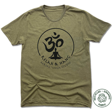 RELAX AND HANG AERIAL YOGA STUDIOS | UNISEX OLIVE Recycled Tri-Blend | BLACK LOGO