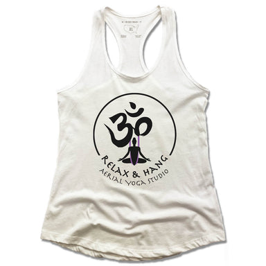 RELAX AND HANG AERIAL YOGA STUDIOS | LADIES WHITE TANK | LOGO