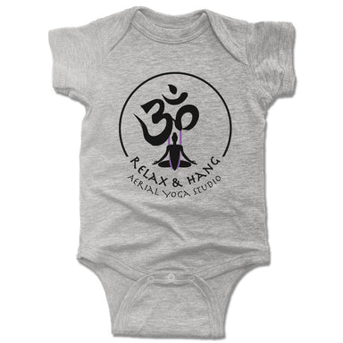 RELAX AND HANG AERIAL YOGA STUDIOS | GRAY ONESIE | LOGO