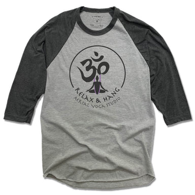 RELAX AND HANG AERIAL YOGA STUDIOS | GRAY 3/4 SLEEVE | LOGO