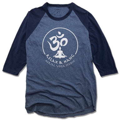 RELAX AND HANG AERIAL YOGA STUDIOS | DENIM/NAVY 3/4 SLEEVE | WHITE LOGO