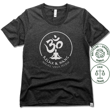 RELAX AND HANG AERIAL YOGA STUDIOS | FAIRTRADE FREESET BLACK LADIES TEE | WHITE LOGO